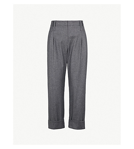 BRUNELLO CUCINELLI Cropped mid-rise wool-blend straight-leg trousers (Grey