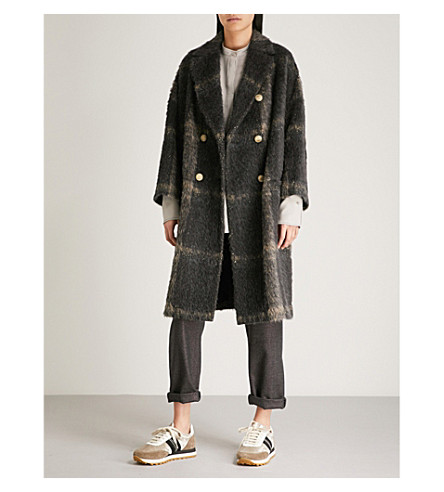 BRUNELLO CUCINELLI 金属线格纹羊驼混纺大衣 (木炭
