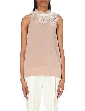 BRUNELLO CUCINELLI Feather-neckline stretch-silk top