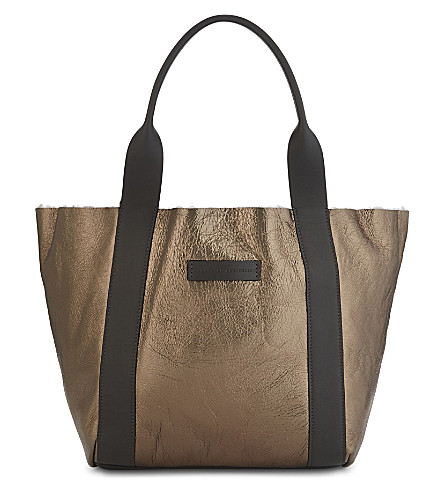BRUNELLO CUCINELLI Metallic leather and shearling tote (Brown