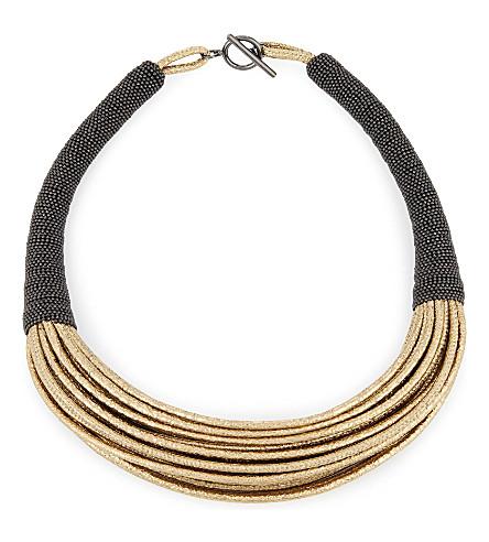 BRUNELLO CUCINELLI Multi-strand leather necklace (Gold