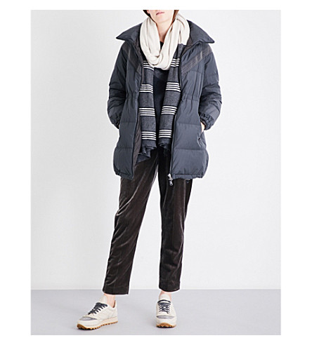 BRUNELLO CUCINELLI Monili chain-embellished shell puffer coat (Charcoal
