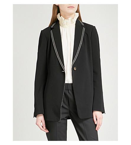 BRUNELLO CUCINELLI Tuxedo bead-embellished crepe blazer (Black
