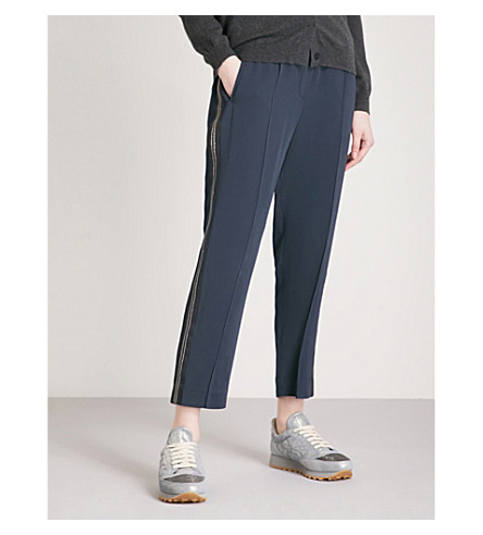 BRUNELLO CUCINELLI Bead-embellished tapered high-rise crepe trousers (Blue