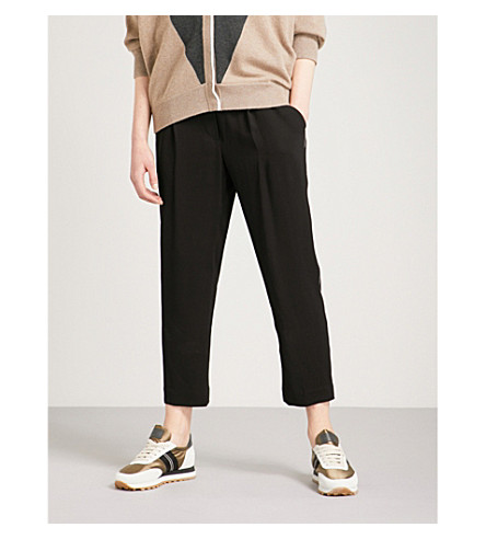 BRUNELLO CUCINELLI Self-tie straight cropped woven trousers (Black