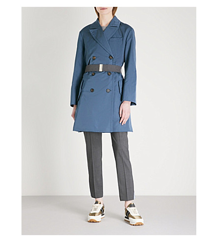 BRUNELLO CUCINELLI Double-breasted shell trench coat (Navy