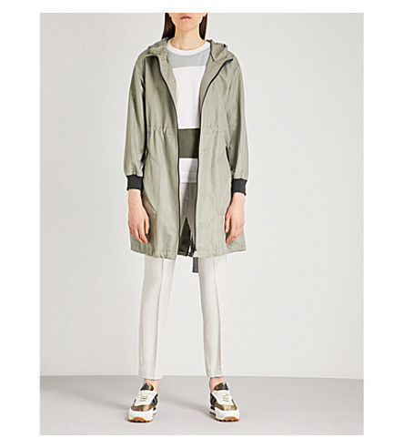 BRUNELLO CUCINELLI Oversized cotton-blend parka coat (Sage+green