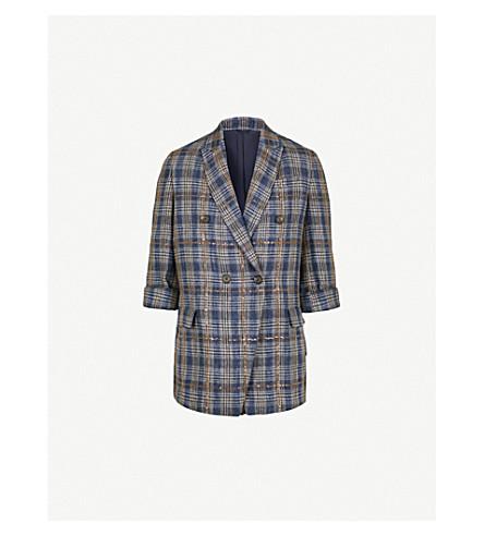 BRUNELLO CUCINELLI Sequin-embellished checked linen jacket (Blue