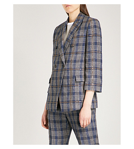 BRUNELLO CUCINELLI Sequin-embellished checked linen jacket (Blue