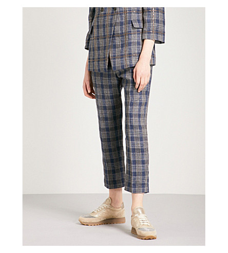 BRUNELLO CUCINELLI Checked straight cropped linen trousers (Blue