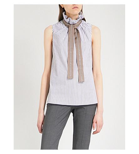 BRUNELLO CUCINELLI Neck-tie sleeveless stretch-cotton shirt (White+black