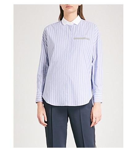BRUNELLO CUCINELLI Striped stretch-cotton shirt (Blue+stripe