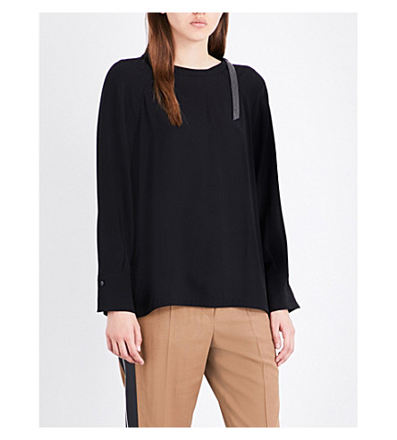 BRUNELLO CUCINELLI Strap-detail silk top (Black