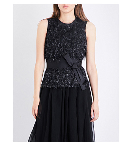 BRUNELLO CUCINELLI Overlay fil-coupe and silk gown (Black