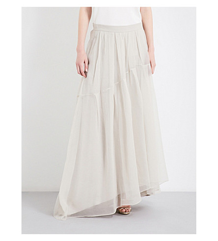 BRUNELLO CUCINELLI Asymmetric high-rise silk skirt (Light+grey