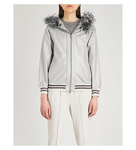 BRUNELLO CUCINELLI Feather-trim metallic jacket (Silver