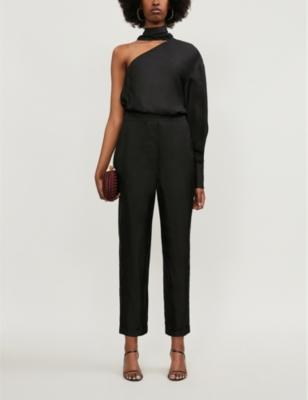Scarf-detail silk-twill jumpsuit