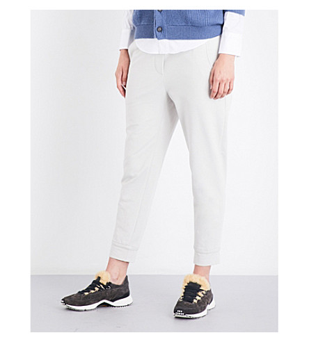 BRUNELLO CUCINELLI Striped-waistband tapered cropped stretch-jersey jogging bottoms (Milk