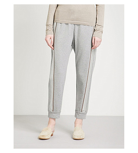 BRUNELLO CUCINELLI Bead-embellished stripe stretch-cotton jogging bottoms (Mid+grey