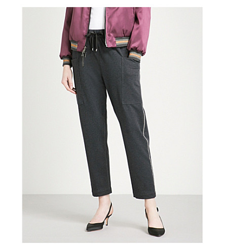 BRUNELLO CUCINELLI Bead-embellished stretch-cotton jogging bottoms (Anracite