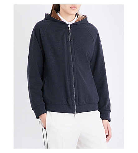 BRUNELLO CUCINELLI Reversible stretch-jersey and velvet hoody (Charcoal+gold