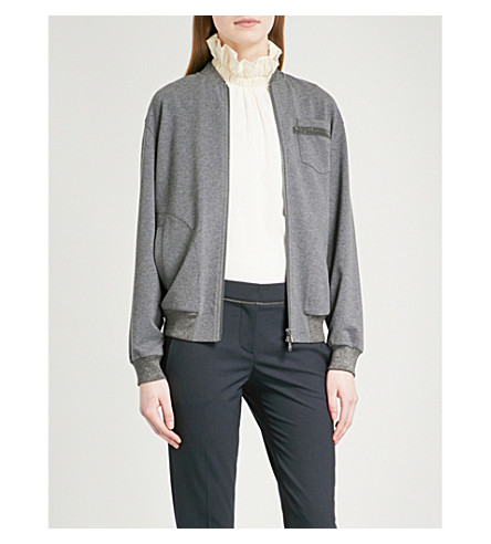 BRUNELLO CUCINELLI Bead-embellished stretch-cotton bomber jacket (Dark+grey