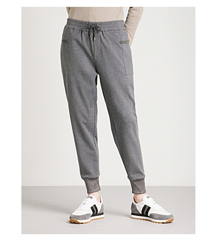 BRUNELLO CUCINELLI Metallic-trim stretch-cotton jogging bottoms (Dark+grey