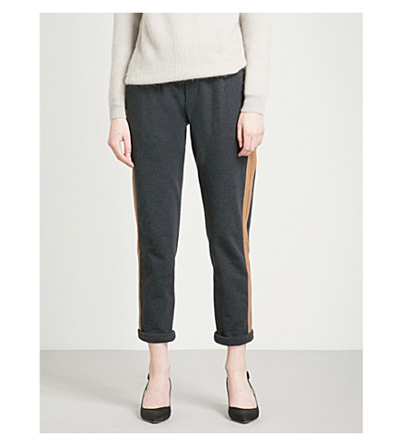 BRUNELLO CUCINELLI Bead-embellished stripe stretch-cotton jogging bottoms (Anracite
