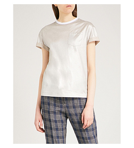 BRUNELLO CUCINELLI Metallic cotton T-shirt (Silver