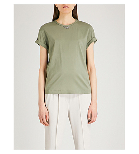 BRUNELLO CUCINELLI Beaded-detail stretch-silk top (Dusty+green