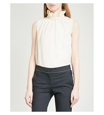 BRUNELLO CUCINELLI Frilled high-neck sleeveless cotton top (Natural+white