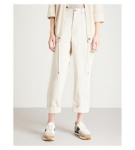 BRUNELLO CUCINELLI Cropped high-rise velvet jeans (Salt