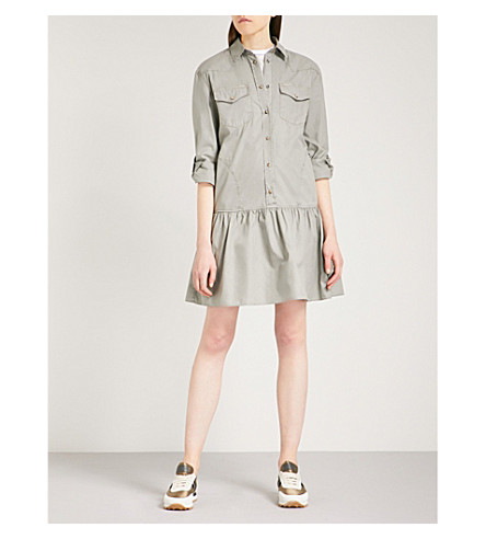 BRUNELLO CUCINELLI Pocket-detail cotton mini dress (Sage+green