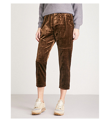 BRUNELLO CUCINELLI High-rise tapered velvet cropped trousers (Dark+brown