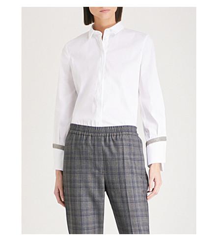 BRUNELLO CUCINELLI Asymmetric cotton-blend shirt (White