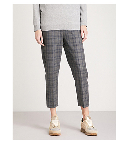 BRUNELLO CUCINELLI Checked high-rise tapered cotton-blend trousers (Blue
