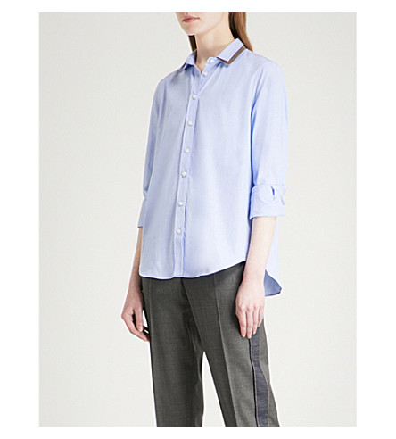 BRUNELLO CUCINELLI Metallic-trim cotton-poplin shirt (Blue