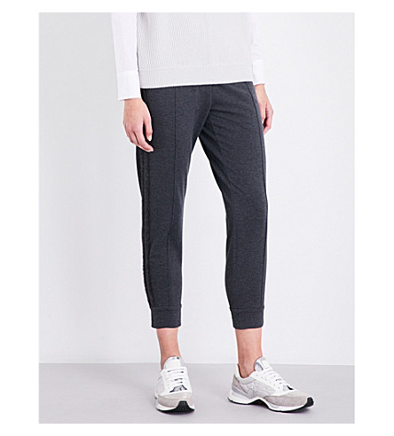 BRUNELLO CUCINELLI Cropped stretch-cotton jogging bottoms (Grey+camel