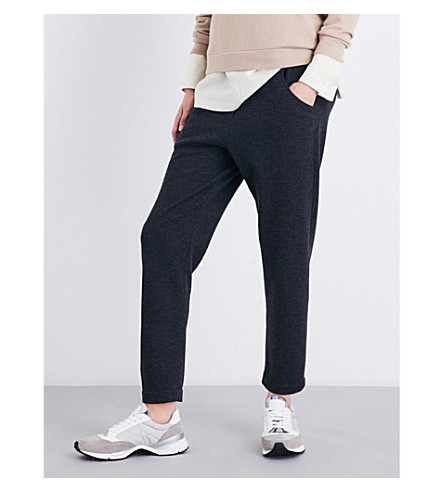 BRUNELLO CUCINELLI Embellished-pocket cashmere jogging bottoms (Charcoal