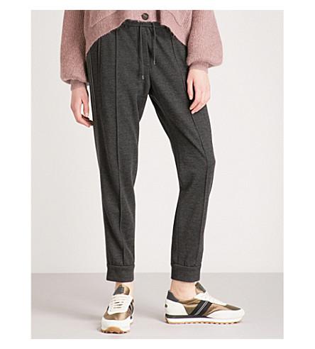 BRUNELLO CUCINELLI Embellished side-stripe tapered high-rise cashmere jogging bottoms (Charcoal