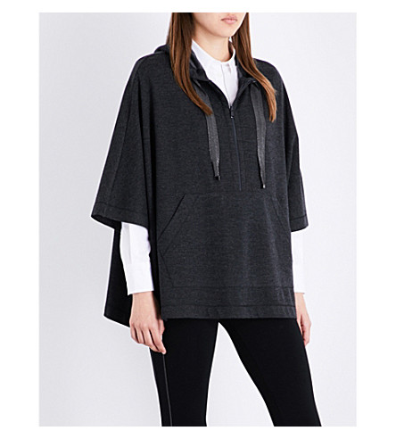 BRUNELLO CUCINELLI Embellished cashmere poncho (Charcoal