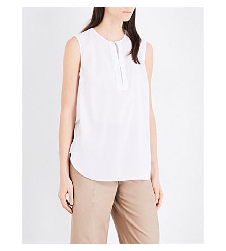 BRUNELLO CUCINELLI Embellished stretch-silk top (White