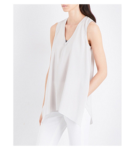 BRUNELLO CUCINELLI Embellished stretch-silk top (Salt