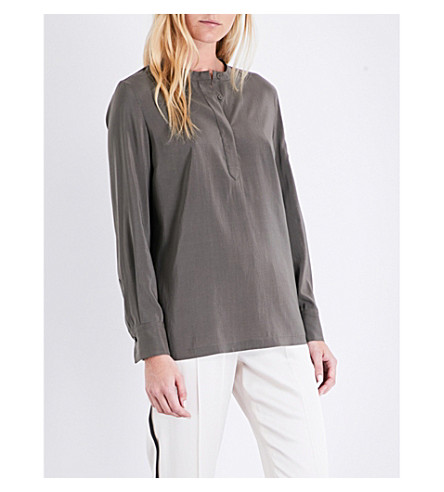 BRUNELLO CUCINELLI Stretch-silk shirt (Military+green