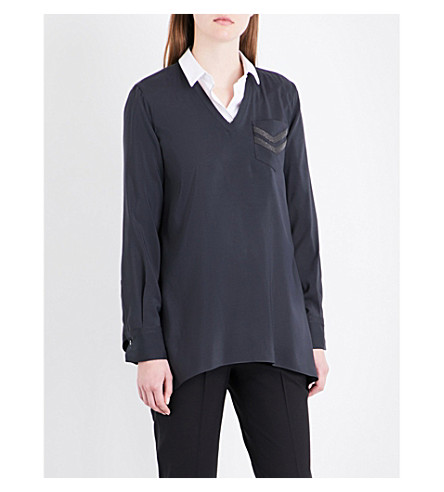 BRUNELLO CUCINELLI Chain-embellished stretch-silk shirt (Charcoal