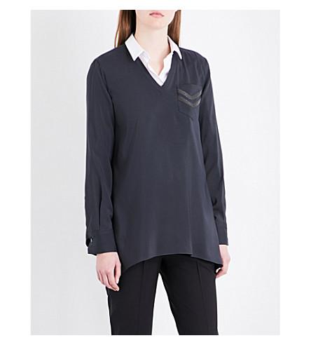 BRUNELLO CUCINELLI Chain-embellished stretch-silk shirt (Charcoal