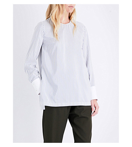 BRUNELLO CUCINELLI Striped silk top (Blue