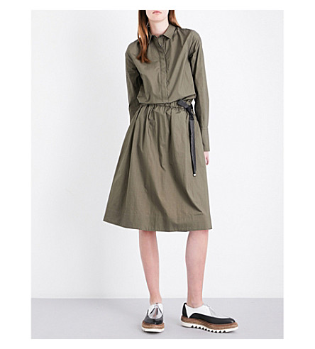 BRUNELLO CUCINELLI Chain-embellished cotton-poplin shirt dress (Military+green