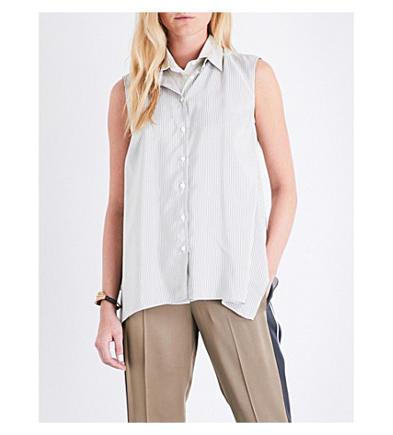 BRUNELLO CUCINELLI Double-collar tstriped silk top (Dark+olive