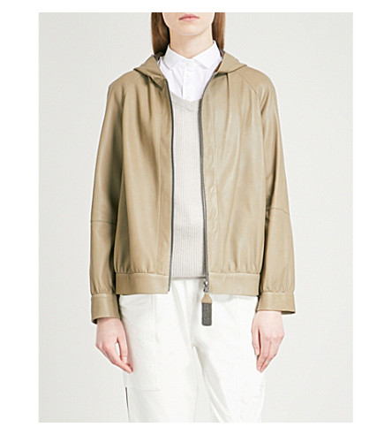 BRUNELLO CUCINELLI Hooded leather jacket (Military+green